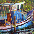 Blue Fishing Boat by Art Nomad Sandra  Hansen