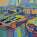 Blue Fishing Village by Cynthia McLean