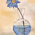 Blue Flower And Glass Vase Sketch by Ken Powers