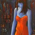 Blue Girl In Red Dress by Lynn Chatman