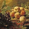 Blue Grapes And Peaches In A Wicker Basket by Gerardina Jacoba van de Sande Bakhuyzen