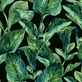 Blue Green Watercolor Tropical Leaves by Elaine Plesser