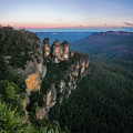 Blue Haze At Sunrise At Ecco Point In Blue Mountains by Daniela Constantinescu
