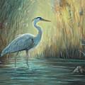 Blue Heron Fishing by June Hunt