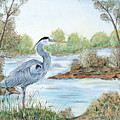 Blue Heron Of The Marshlands by Jean PLout