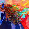 Blue Horse In Red Canyon by Liz Borkhuis