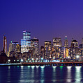 Blue Hour Panorama New York World Trade Center With Freedom Tower From Liberty State Park by Raymond Salani III