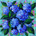 Blue Hydrangeas - Abstract Floral Composition by Mona Edulesco