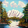 Blue Lake Mirror Reflection - Elegance With Oil by Claude Beaulac