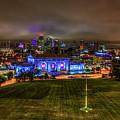 Blue Lights On Kansas City Union Station Kansas City Missouri Art by Reid Callaway