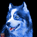 Blue Modern Siberian Husky Dog Art - 6024 - Bb by James Ahn