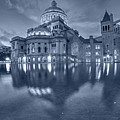 Blue Monochrome Boston Christian Science Building Reflecting Pool by Toby McGuire