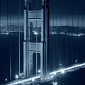 Monochrome Blue The San Francisco Skyline Through The Golden Gate Bridge by Toby McGuire