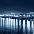 Monochrome Blue Bay Bridge San Francisco California by Toby McGuire