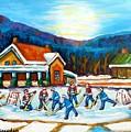 Blue Mountains At St Hippolyte Pond Hockey Painting Rural Quebec Landscape Cabin Scene C Spandau     by Carole Spandau