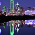 Blue Night And Reflections In Dallas by Frozen in Time Fine Art Photography