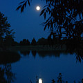 Blue Night Moon And Reflection by Katherine Nutt