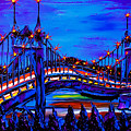 Blue Night Of St. Johns Bridge 37 by Dunbar's Modern Art