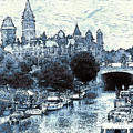 Blue Ottawa Skyline - Water Color by Peter Potter