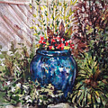 Blue Planter by Lynne Haines