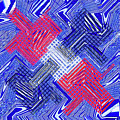 Blue Red And White Janca Abstract Panel by Tom Janca