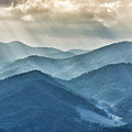 Blue Ridge Sunset Rays by Louise Lindsay
