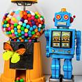 Blue Robot And Bubblegum Machine by Garry Gay