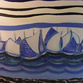 Blue Sailing Boats In The Harbour by BERANIC Lovro