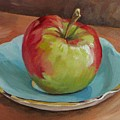 Blue Saucer With Apple by Cheryl Pass