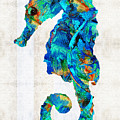 Blue Seahorse Art By Sharon Cummings by Sharon Cummings