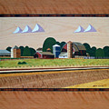 Blue Silo-marquetry by Bruce Bodden