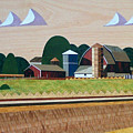 Blue Silo-marquetry-image by Bruce Bodden