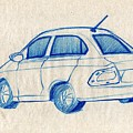 Blue Sketch Of A Car From Left Rear View With A Rear Aerial  by Makarand Joshi