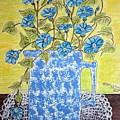 Blue Spongeware Pitcher Morning Glories by Kathy Marrs Chandler