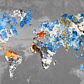 Blue Street Art World Map by Delphimages Photo Creations