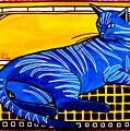 Blue Tabby - Cat Art By Dora Hathazi Mendes by Dora Hathazi Mendes