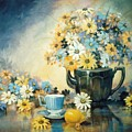 Blue Teacup And Lemon by JoAnne Corpany