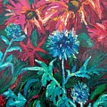 Blue Thistle And Bee Balm by Susan  Spohn