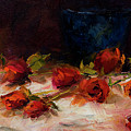 Blue Vase And Red Roses by Laurel McFarland