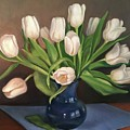 Blue Vase, White Tulips by Rosanne Wolfe