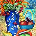 Blue Vase With Orange Flowers by Caroline Street