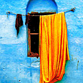 Blue Wall With Orange Sari by Derek Selander