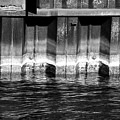Blue Water Retaining Wall 4 Bw by Mary Bedy
