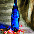 Blue Wine Bottle by Todd A Blanchard