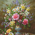 Bluebells Daffodils Primroses And Peonies In A Blue Vase by Albert Williams