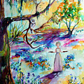 Bluebells Forest And Savannah Bird Girl Watercolor by Ginette Callaway