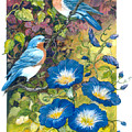 Bluebirds And Morning Glories by Lois Mountz
