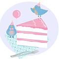 Bluebirds Love Birthday Cake by Little Bunny Sunshine