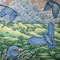 Bluebirds Of Happiness by Jeniffer Stapher-Thomas