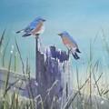 Bluebirds On Post by Cynthia Geiger